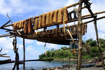 Walfleisch hängt überall in Lamalera zum trocknen